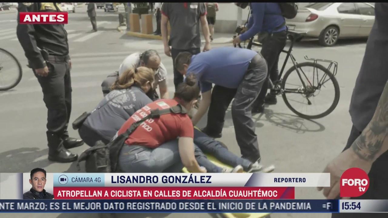 camioneta atropella a ciclista de 22 anos en calles de la alcaldia cuautemoc