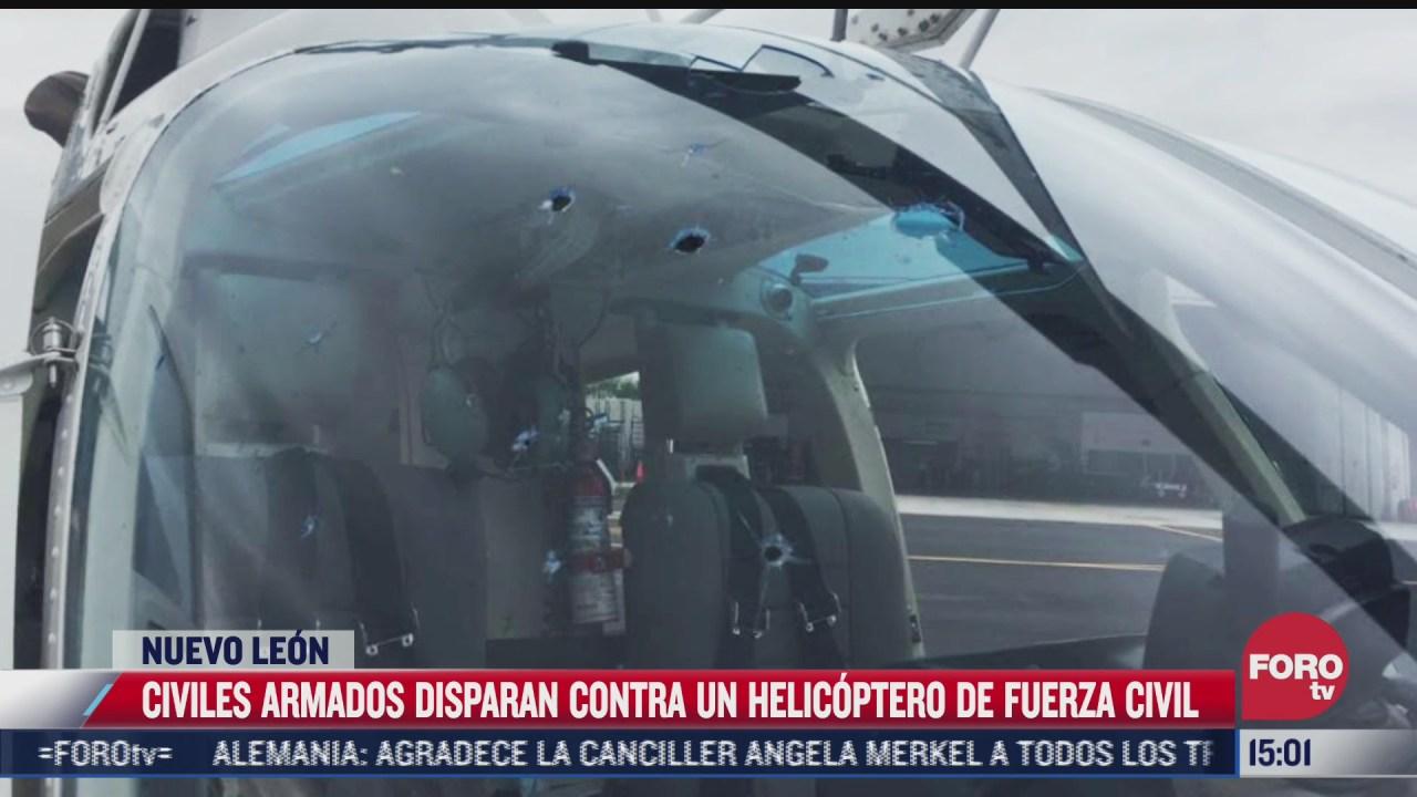 civiles armados disparan contra helicoptero de fuerza civil en nl