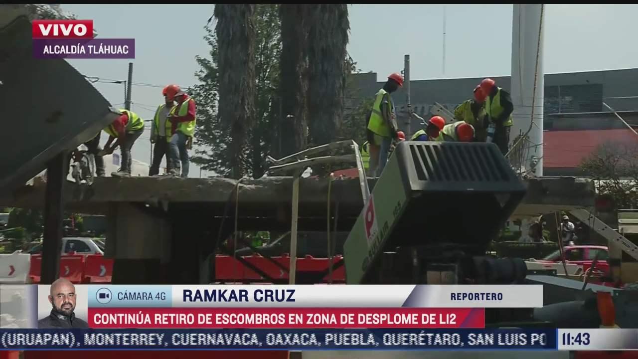 continua retiro de trabes de concreto que desplomaron en l12 del metro