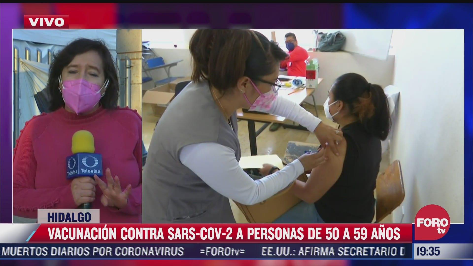 Continúa vacunación contra COVID-19 en Hidalgo para adultos de 50 a 59 años