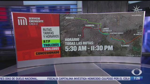 cuales son las rutas del transporte alternativo tras cierre de la l12 del metro