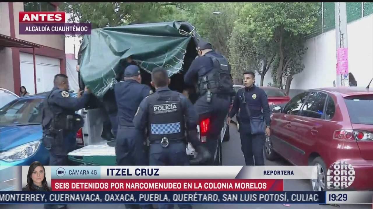 detienen a seis por narcomenudeo en colonia morelos