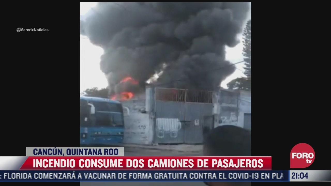 incendio consume dos camiones de pasajeros en cancun
