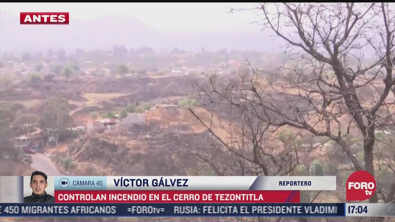 sofocan incendio forestal en el cerro tezontitla en cdmx