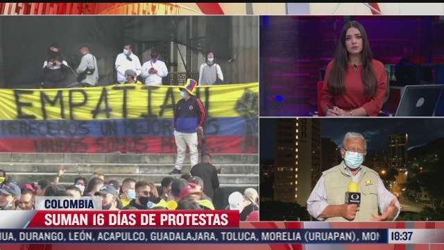 suman 16 dias de protestas en colombia