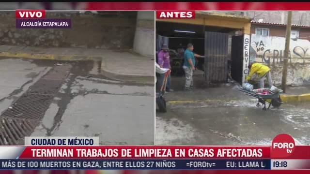 terminan trabajos de limpieza en casas afectadas por inundaciones en iztapalapa