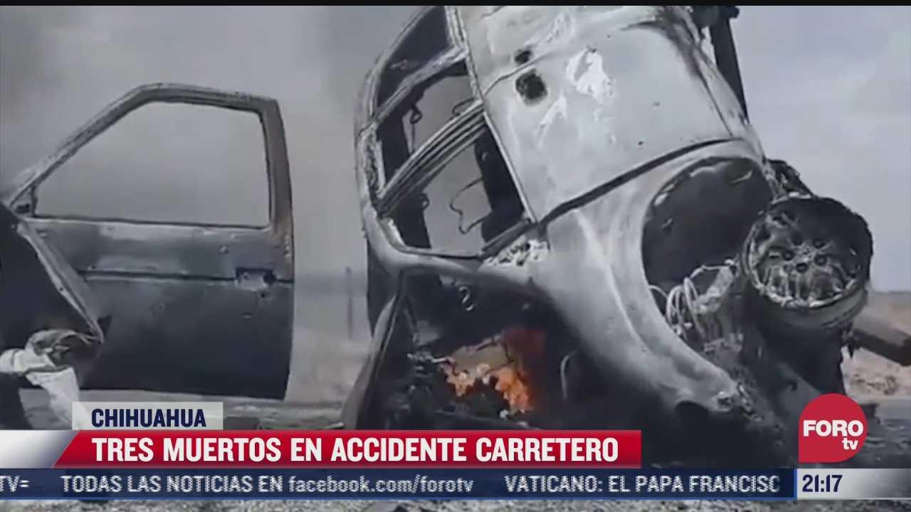tres muertos en accidente carretero en chihuahua