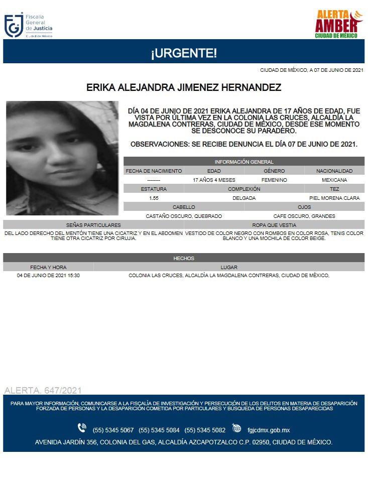 Activan Alerta Amber para localizar a Érika Alejandra Jiménez Hernández