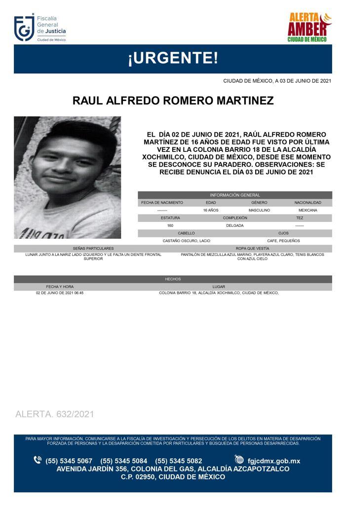 Activan Alerta Amber para Raúl Alfredo Romero Martínez