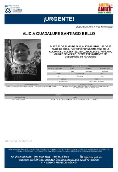 Activan Alerta Amber para localizar a Alicia Guadalupe Santiago Bello