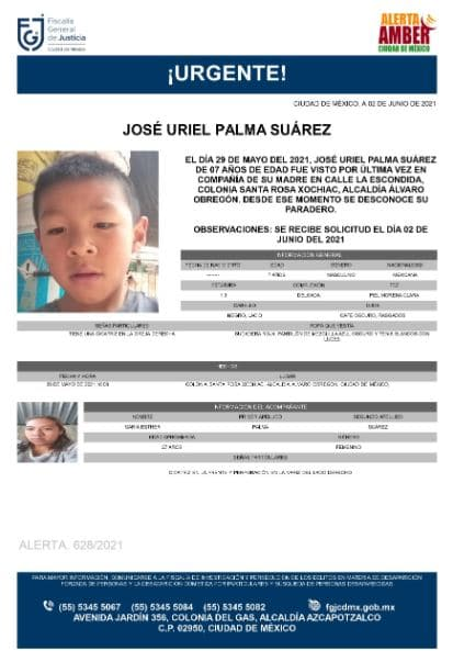 Activan Alerta Amber para localizar a José Uriel Palma Suárez