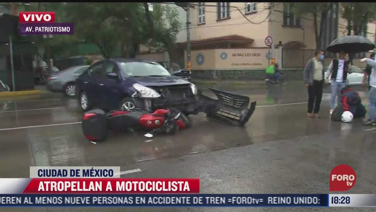 atropellan a motociclista en avenida patriotismo en cdmx