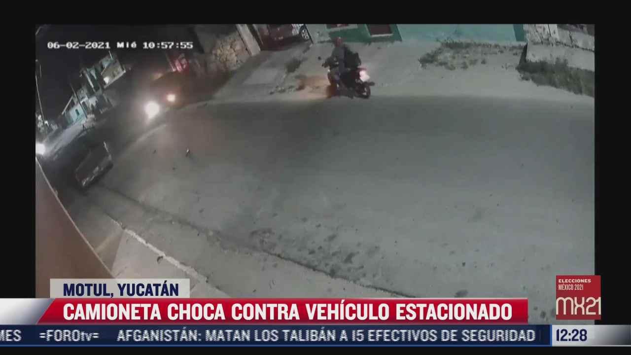 camioneta que choca contra vehiculo estacionado en yucatan
