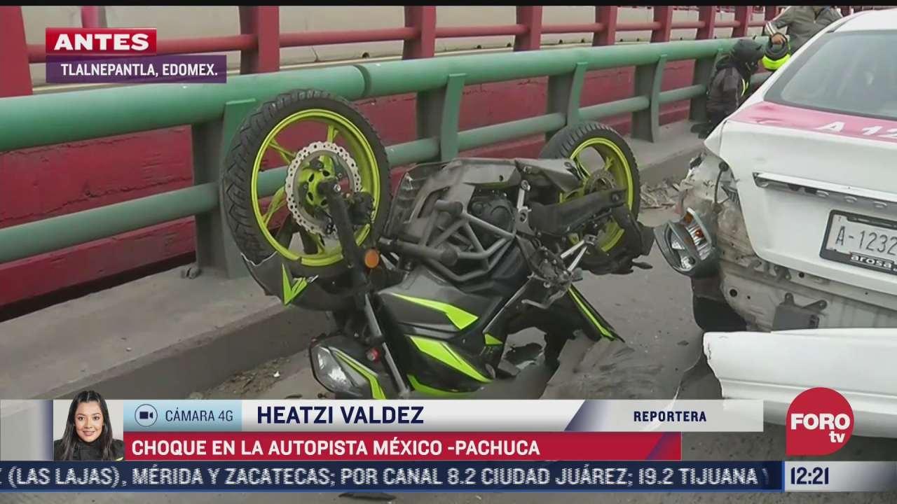 choque en la autopista mexico pachuca provoca afectacion vial