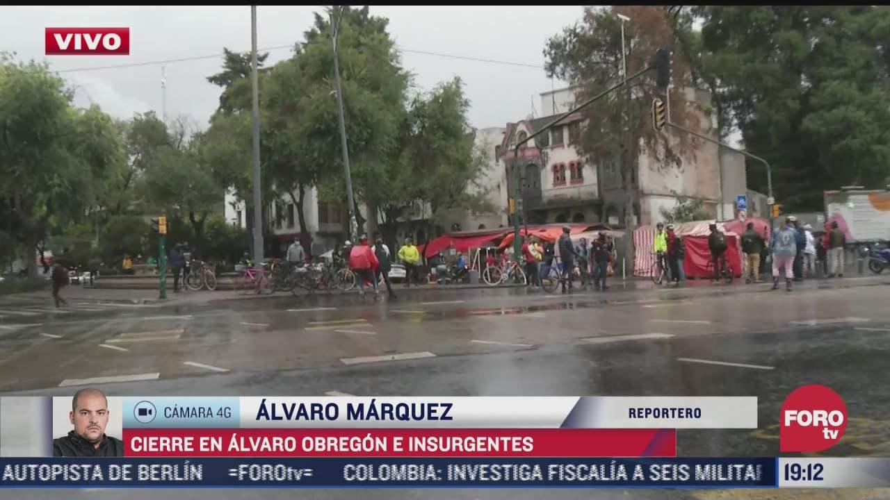 ciclistas bloquean cruce de alvaro obregon e insurgentes