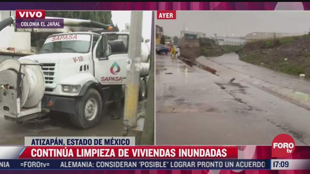 continua limpieza de al menos 120 viviendas inundadas en atizapan