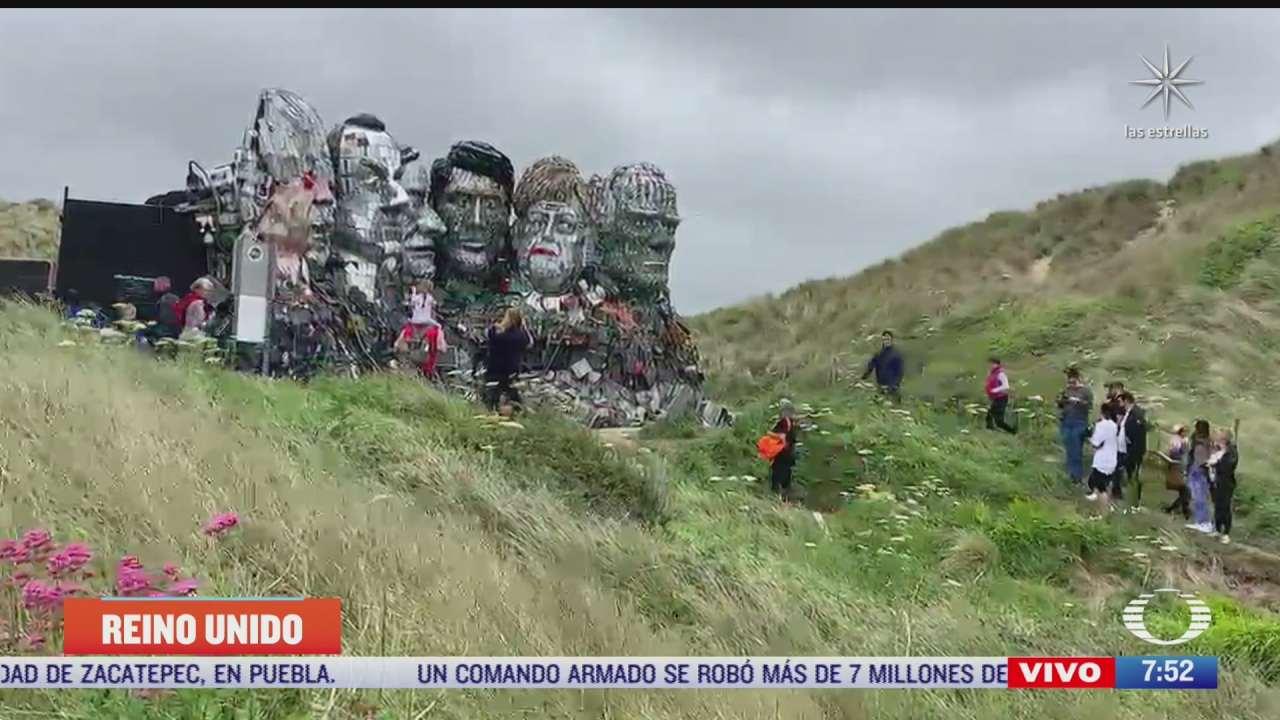 crean escultura con residuos electronicos de lideres del g7 arranca la cumbre