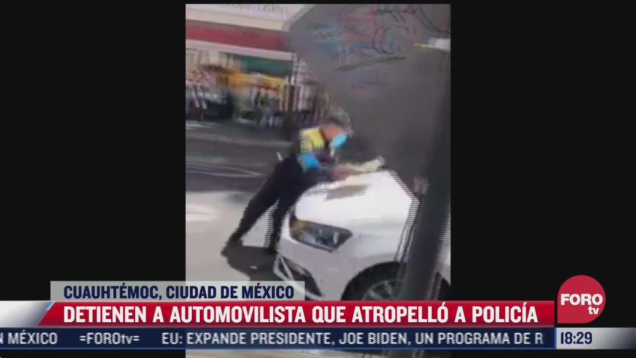detienen a conductor que atropello a policia para evitar ser infracciones