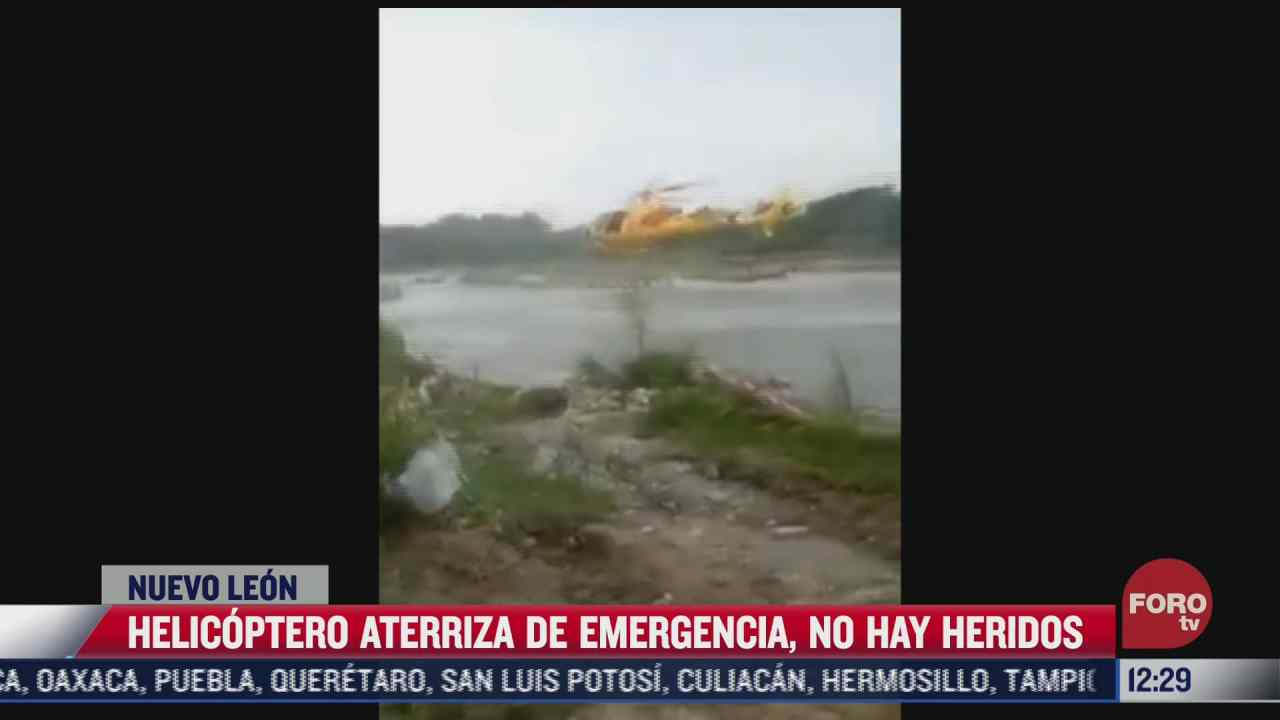 helicoptero aterriza de emergencia por cable que se enredo en el rotor en nuevo leon