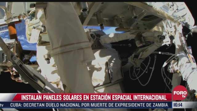 instalan paneles solares en estacion espacial internacional