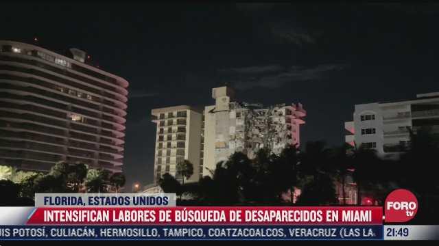 intensifican busqueda y rescate tras derrumbe en departamentos de miami