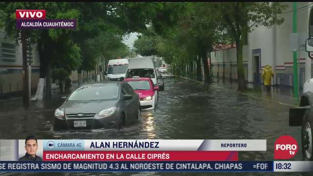 lluvias dejan encharcamiento en la calle cipres en cuauhtemoc cdmx