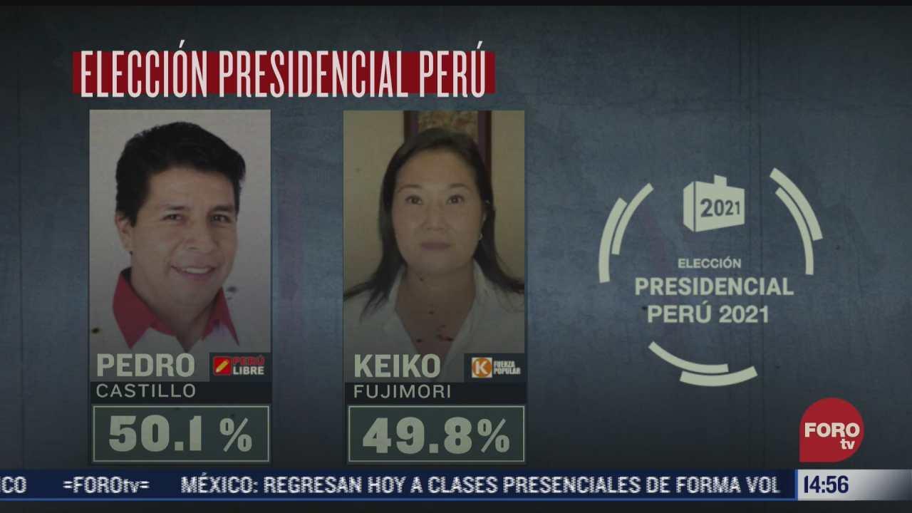 pedro castillo va a la delantera en elecciones presidenciales de peru
