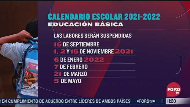 que dias no habra clases de acuerdo al calendario 2021 2022 de la sep