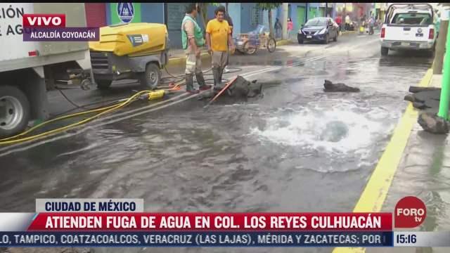 se registra mega fuga de agua en la alcaldia coyoacan