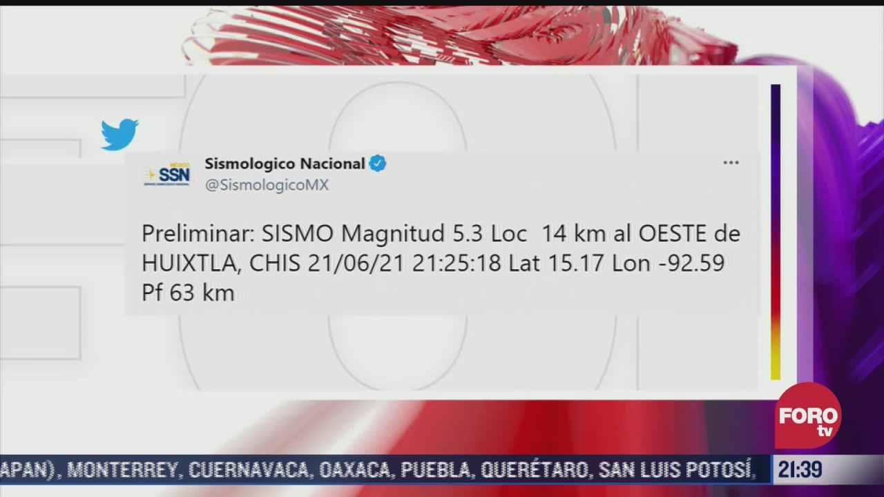 se registra sismo preliminar de magnitud 5 3 en chiapas