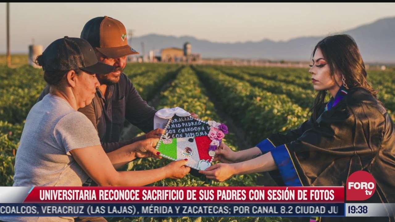 universitaria reconoce sacrificio de sus padres con sesion de fotos en campos de cultivo