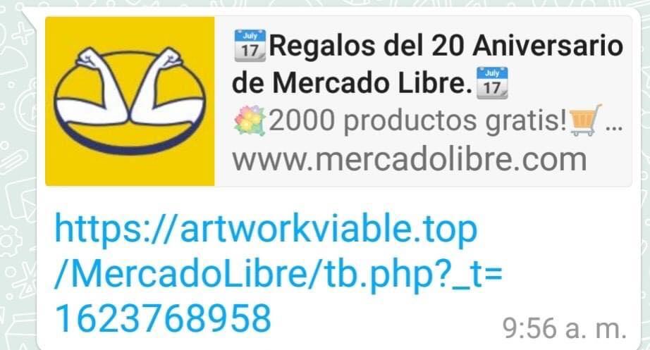 Mensaje falso en WhatsApp sobre Mercado Libre