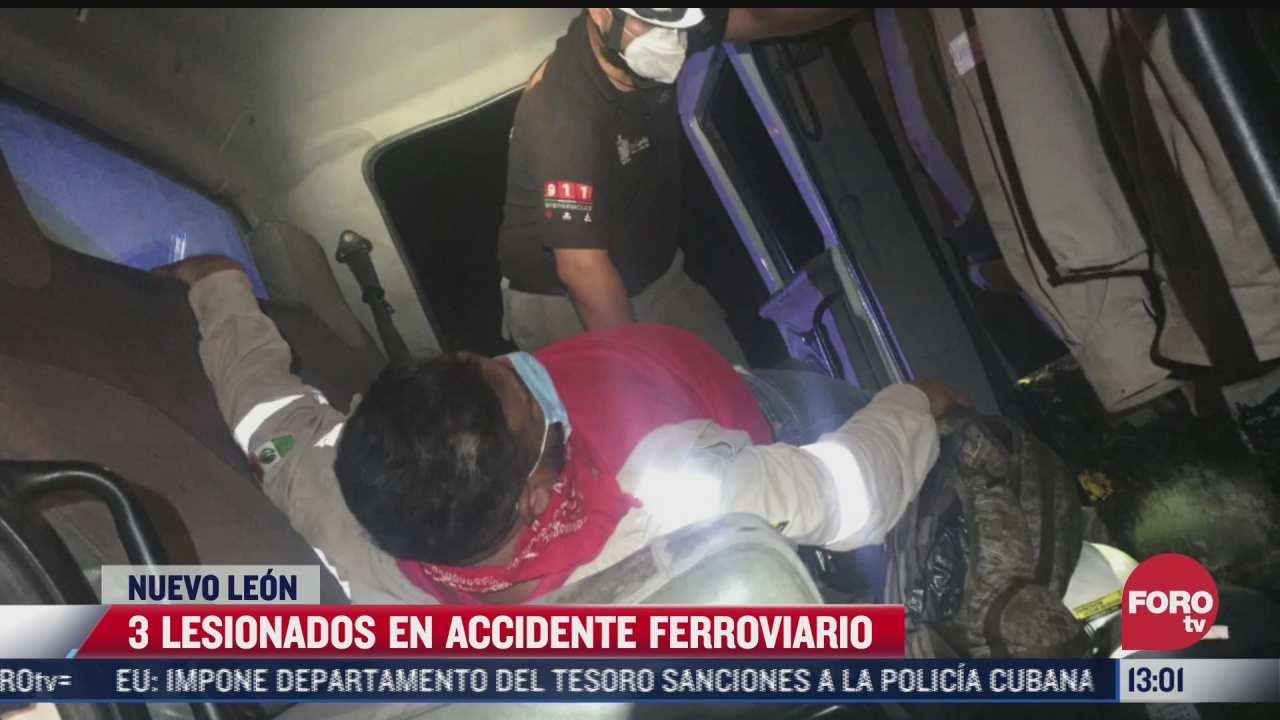 3 lesionados en accidente ferroviario en nuevo leon