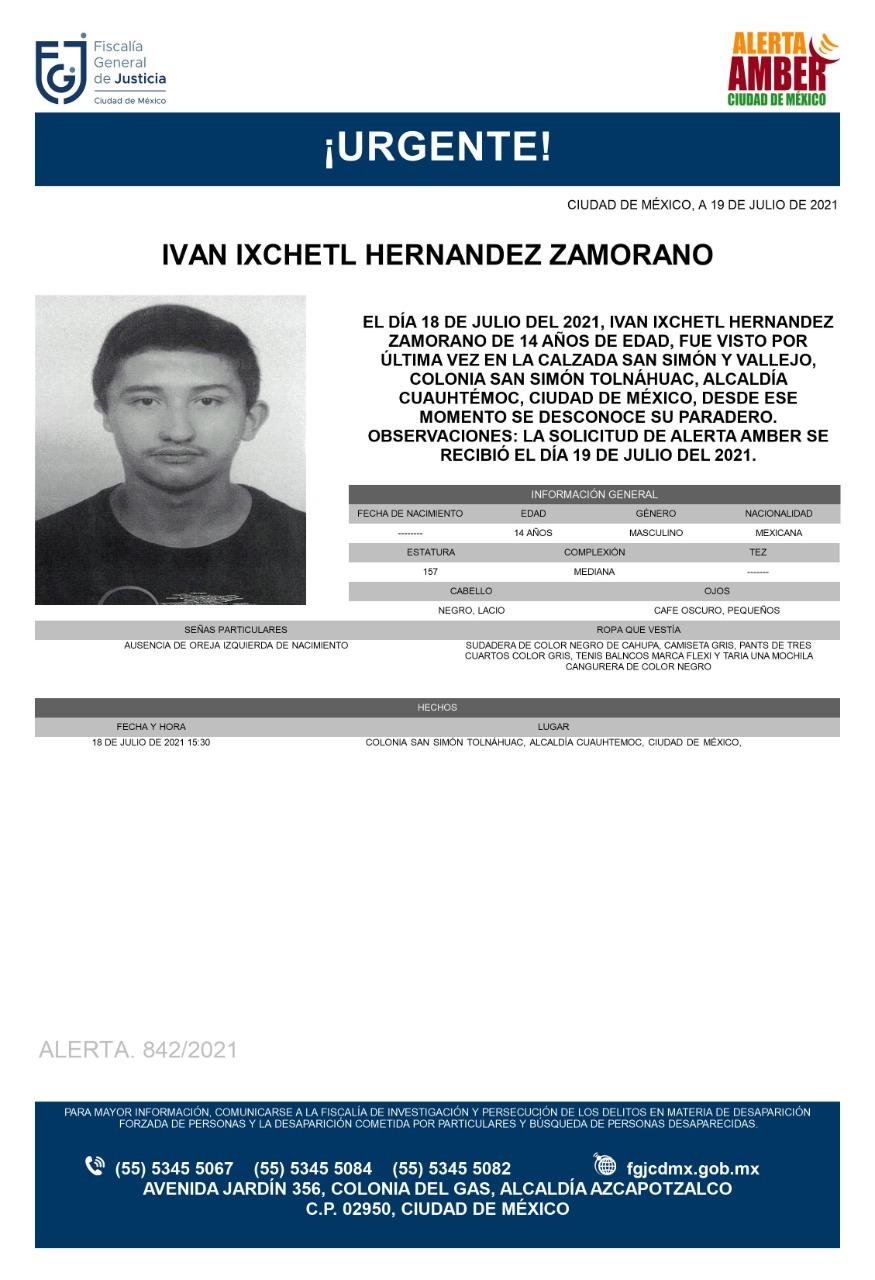 Activan Alerta Amber para localizar a Iván Ixchetl Hernández Zamorano