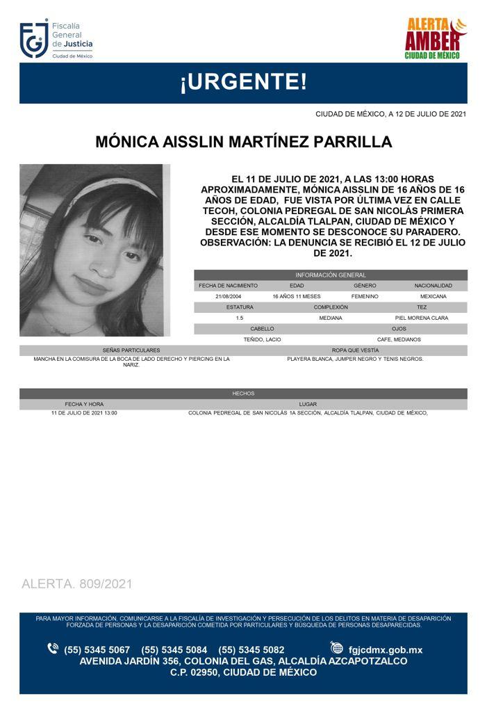 Activan Alerta Amber para localizar a Mónica Aisslin Martínez Parrilla