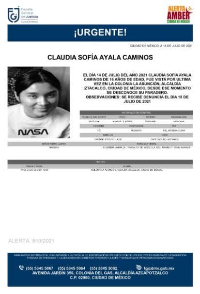 Activan Alerta Amber para localizar a Claudia Sofía Ayala Caminos
