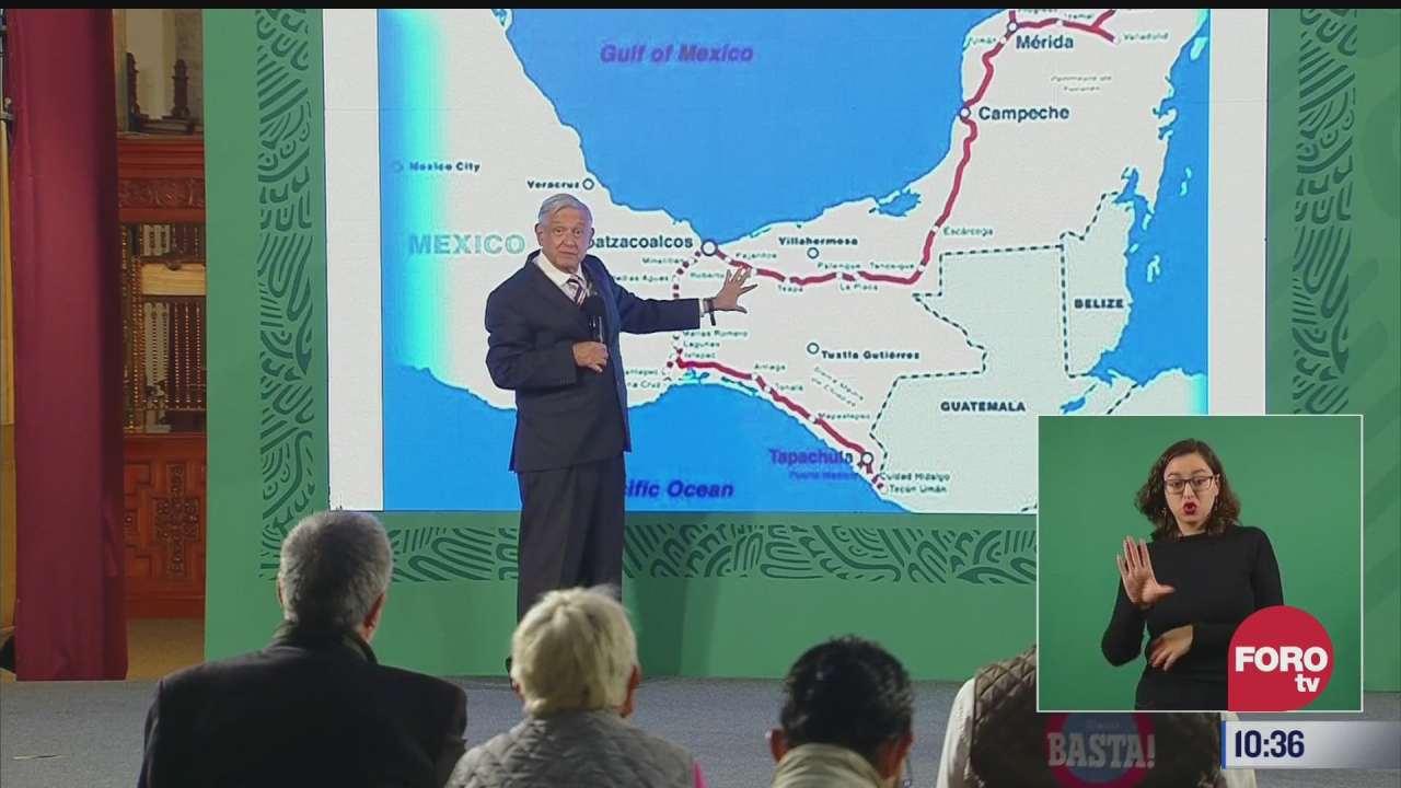 amlo explica recorrido del tren maya