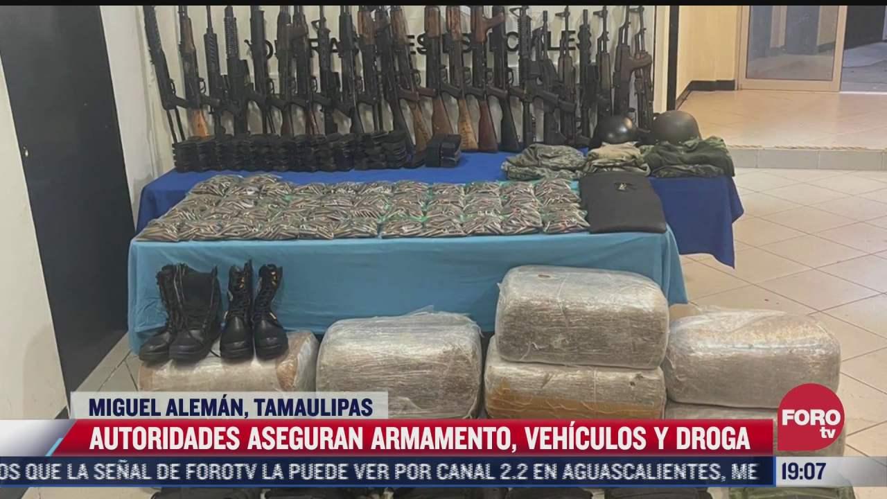 aseguran armamentos vehiculos y droga en tamaulipas