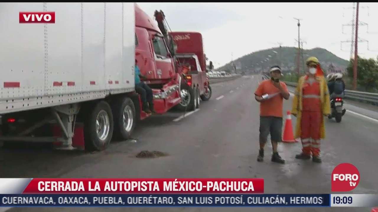 autopista mexico pachuca cerrada tras aparatoso accidente