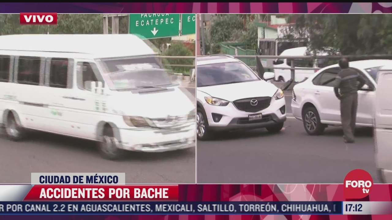 bache provoca accidente sobre la autopista mexico pachuca