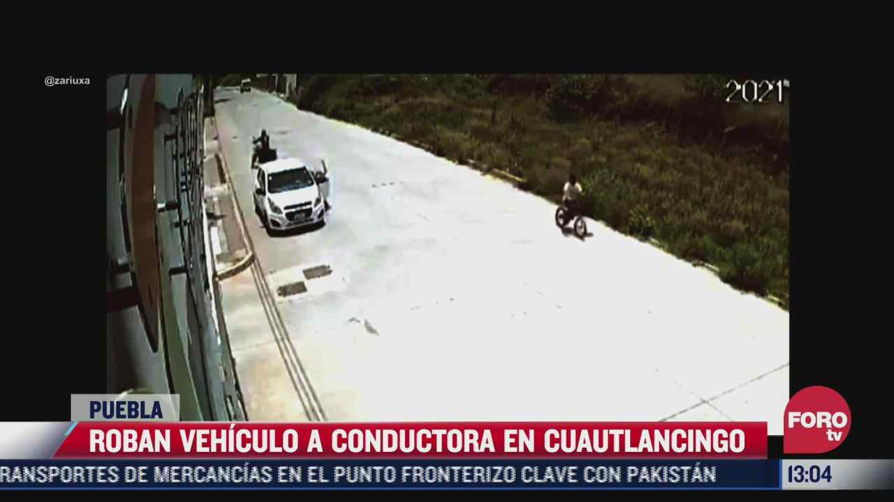 camara de seguridad graba robo de automovil a mujer en cuautlancingo puebla