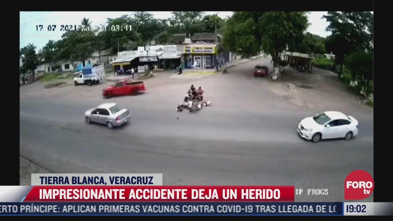 captan momento de choque de moto contra vehiculo en tierra blanca veracruz