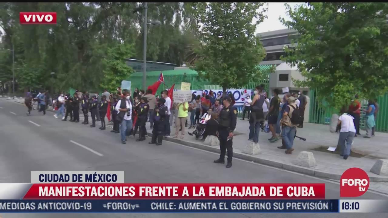 continuan las protestas frente a la embajada de cuba en la cdmx