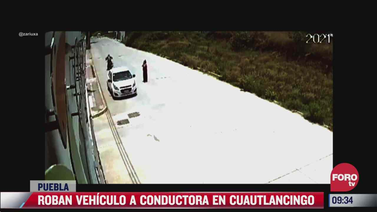 dos sujetos roban automovil a una mujer en puebla