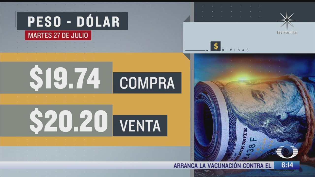 el dolar se vendio en 20 20 en la cdmx del 27 julio