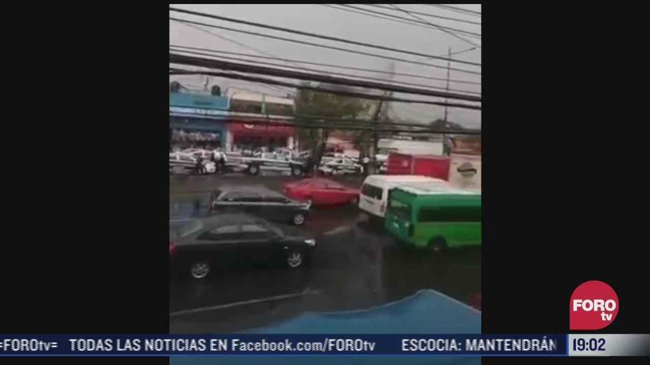 enfrentamiento entre policias municipales y de la fgjem en tlalnepantla