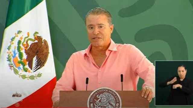 El gobernador de Sinaloa, Quirino Ordaz Coppel, en conferencia de prensa matutina del presidente Andrés Manuel López Obrador.