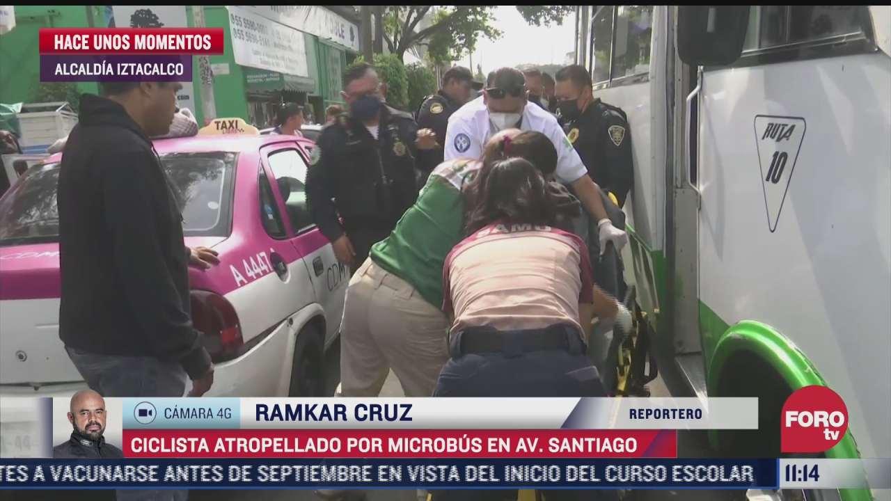 microbus atropella a ciclista en alcaldia iztacalco cdmx