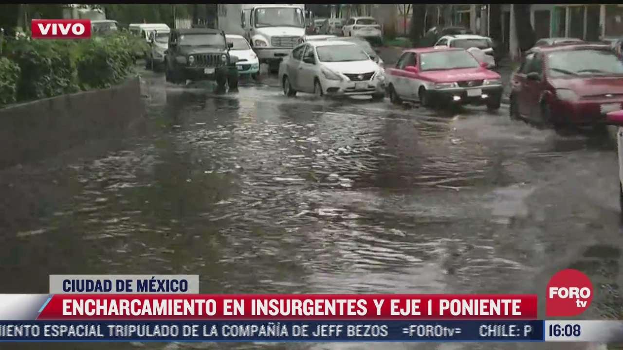 se registra encharcamiento en insurgentes y eje 1 poniente por lluvias