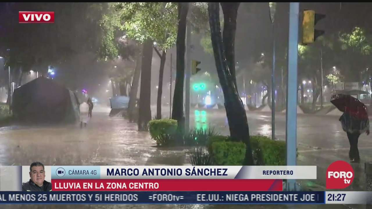 se registran fuertes lluvias en diversos puntos de la ciudad de mexico
